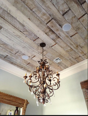 White-washed old board ceiling.