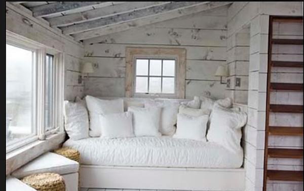 Whitewashed pine walls