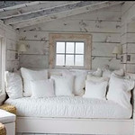 Whitewashed pine walls