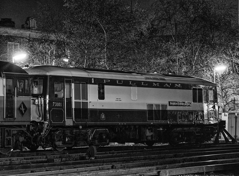 """73101 """"Brighton Evening Argus"""" stabled at Woking, on 23rd November 1991. <br /> Scanned Negative."""