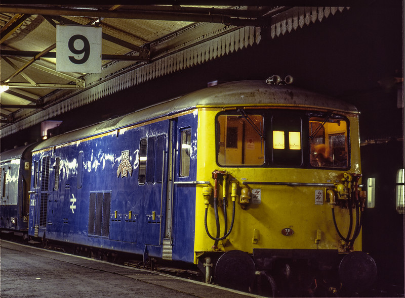 """73005 """"Watercress Line"""" at Reading with 1O17, the 22:58 Reading - Basingstoke Parcels, <br /> on 13th September 1989. Scanned Transparency."""