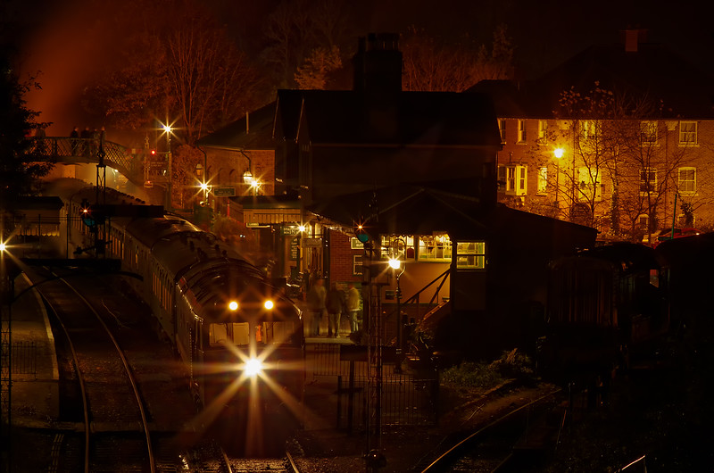 "50027 ""Lion"" waiting at Alresford to make its 20:15 departure to Alton, with the Real Ale Train. 3rd November 2012."