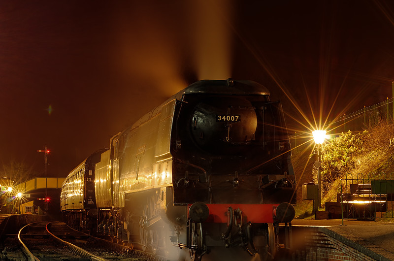 """34007 """"Wadebridge"""" in Ropley station, during the Steam Gala, on 23rd March 2012."""