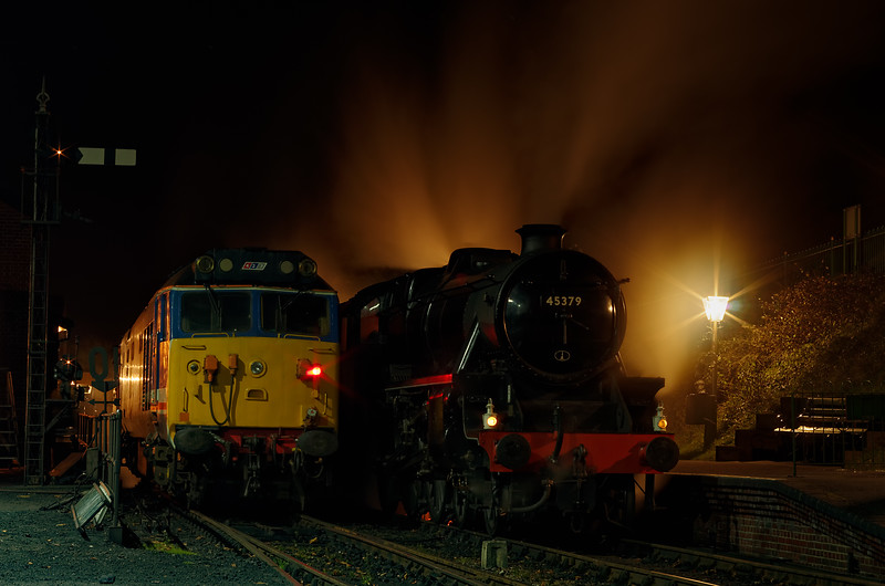 """Black Five 45379 on the """"Watercress Belle"""" dining train, plus 50027 on the rear of the Real Ale Train.  Both shown at Ropley on 3rd November 2012."""