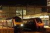 43086 with 1C94, the19:03 Paddington - Plymouth, plus 220014 with 1M71, the 19:45 Reading - Birmingham New Sreet. Both waiting time at Reading on 27th March 2019.