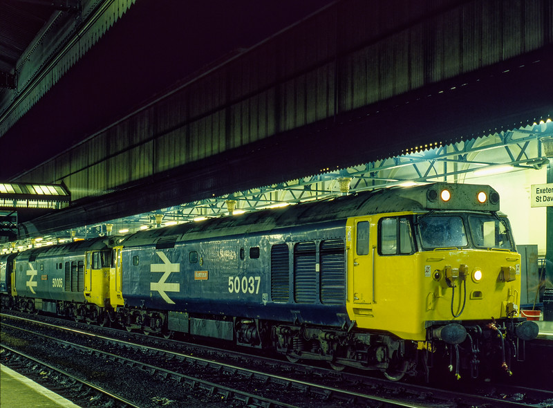 50037 and 50005 at Exeter St Davids with the 10:45 Glasgow - Penzance, <br /> on 27th October 1984.