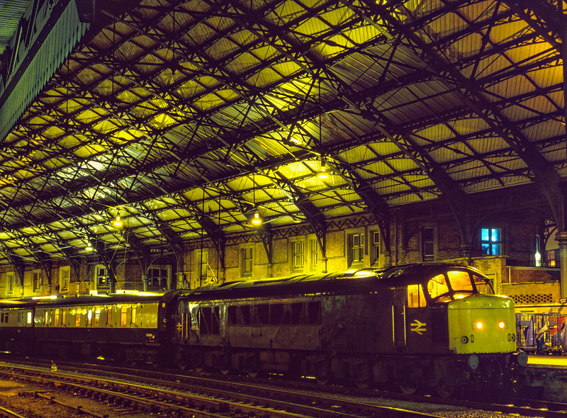 45117 at Bristol Temple Meads with 1S19, the 21:24 Sleeper to Glasgow / Edinburgh, <br /> on 4th February 1984.