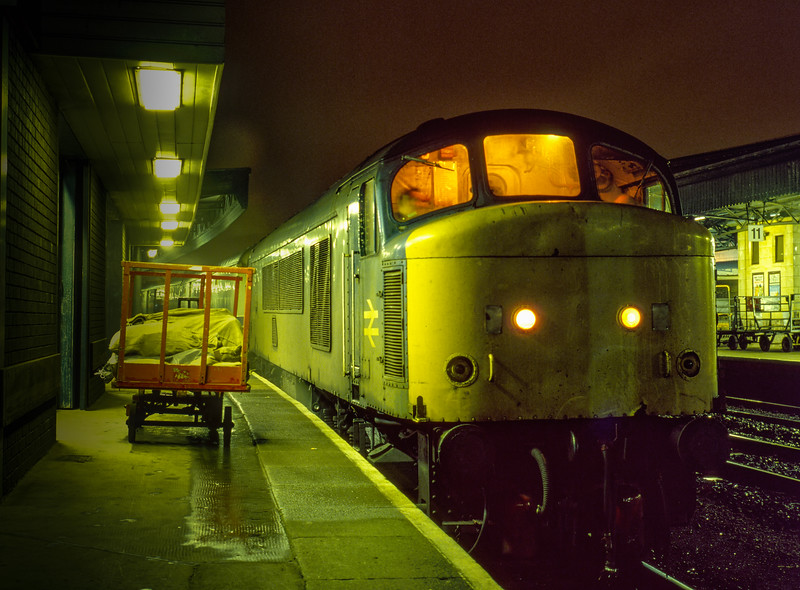 46044 at Bristol Temple Meads with the 19:34 TPO to Derby on 6th January 1984.