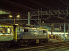 """86030 at Crewe, with the 10:30 Inverness - Euston """"Clansman"""" on 3rd January 1986."""