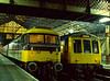 47553 at Crewe, after arrival with the 15:35 service from Cardiff. Class 114: 54039 is on a Shrewsbury service, on 6th January 1988.