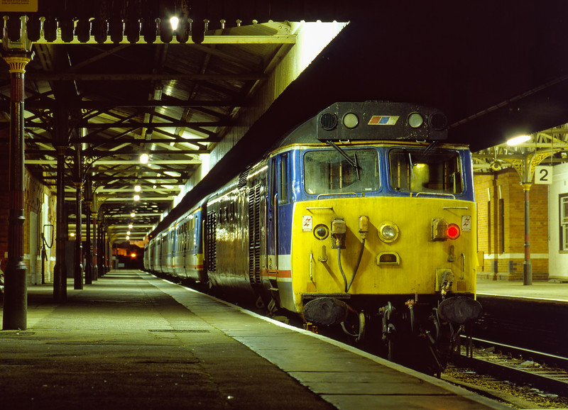 50043 and stock stabled overnight in the reception line at Salisbury on 9th February 1990.