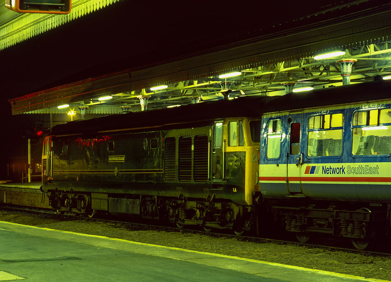 50007 at Exeter St Davids with the 22:10 to Newton Abbot, on 11th September 1990.