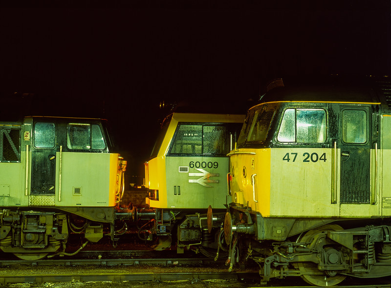 56105, 60009 and 47204 on the Loco Holding Sidings at Didcot on 16th March 1991.
