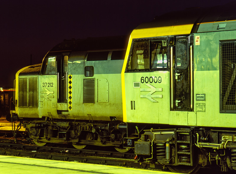 37212 and 60009 on the Loco Holding Sidings at Didcot on 23rd February 1991.