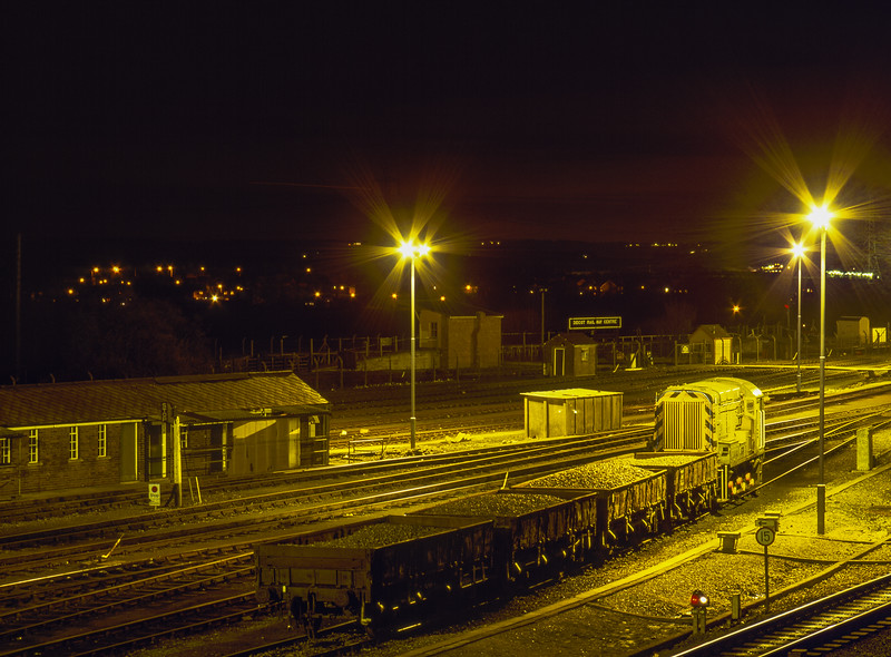 08803 with ballast waggons in Didcot Yard, 8th March 1991.