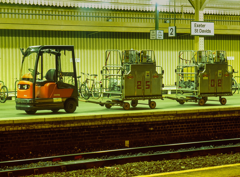 Royal Mail trolleys at Exeter St Davids, waiting for the next mail train arrival, <br /> on 18th September 2001.