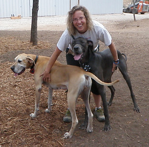 Wendee with a happy Holly and Bogie