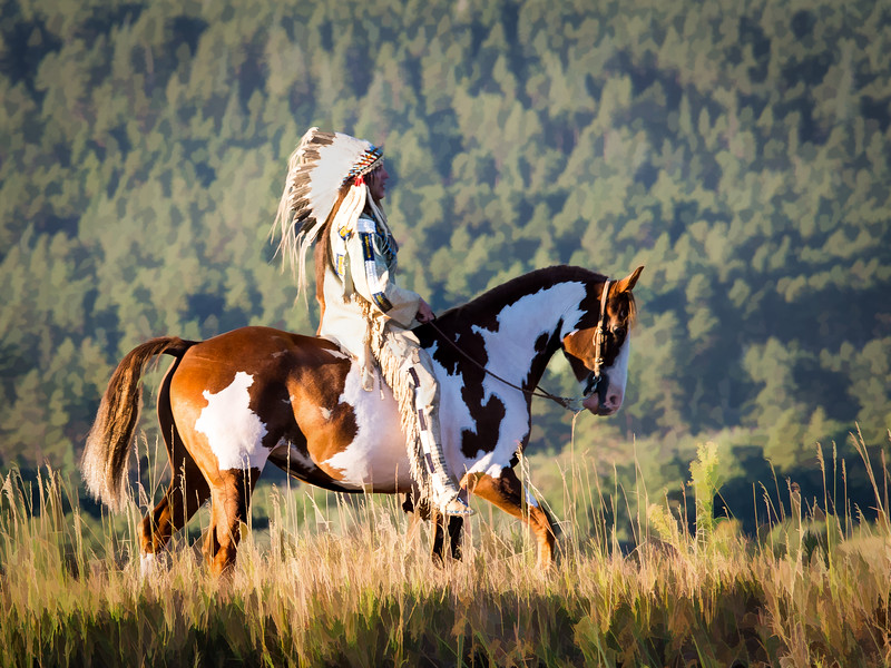 Native American on Pinto Horse