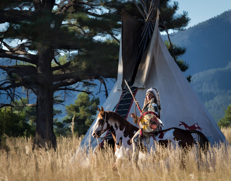 Morning Light - Native American in Front of Teepee
