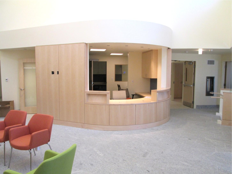 Main lobby looking south – south wing has the inpatient beds - behind the nurses' station.
