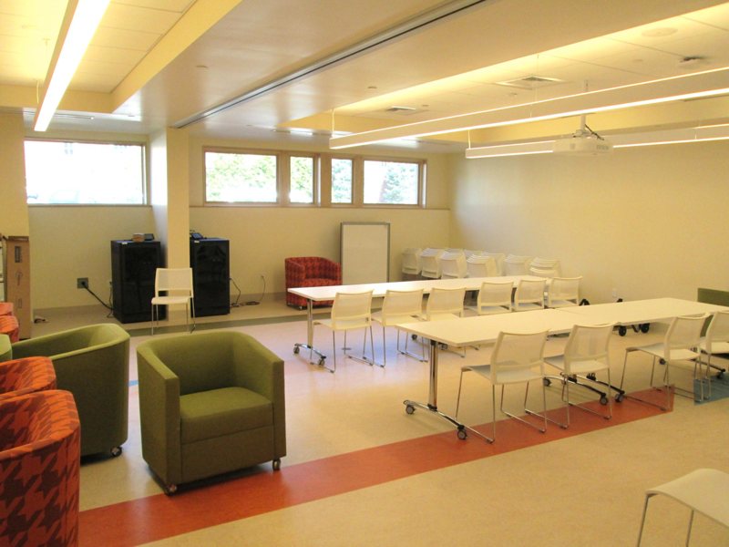 Multipurpose rooms – each 600 SF, full media fit out in each; retractable center wall – showing one large 1200 SF room.