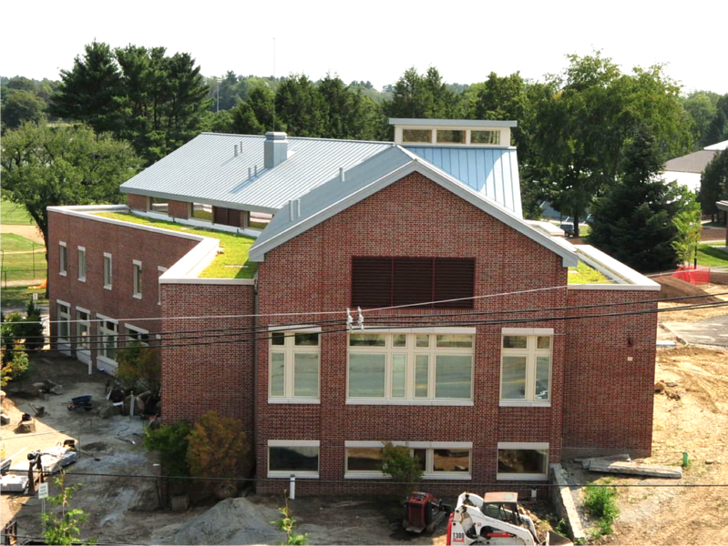 View from Paresky Commons roof – note the green roofs – very sustainable building – certified wood; all led lighting; zinc metal roof; geothermal system; low-flow fixtures; and advanced HVAC controls.  We expect to get LEED Silver rating within the next few weeks.