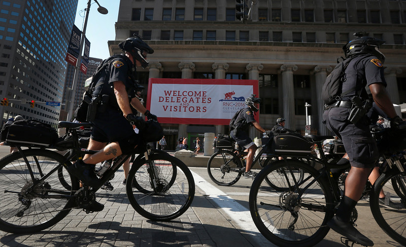Cleveland police patrol downtown Cleveland during the Republican National Convention in Ohio on July 20, 2016.