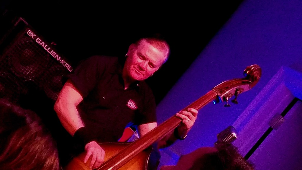 . Jim bo\' Wallace plays bass and smiles for the camera. (Daniel Sewell/Trail-Gazette)