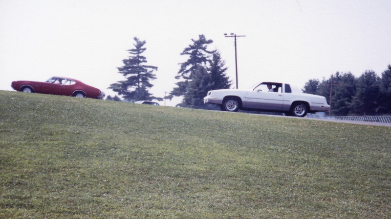 Friday July 17, 1987:  I headed back to Salem, OH for the 1987 Supercar Showdown.  This year's event was condensed to two days with magazine shoots, tech inspection, and time trials taking place on Friday.  Saturday would feature additional time trials followed by eliminations.  I am in the burnout area in the photo above.