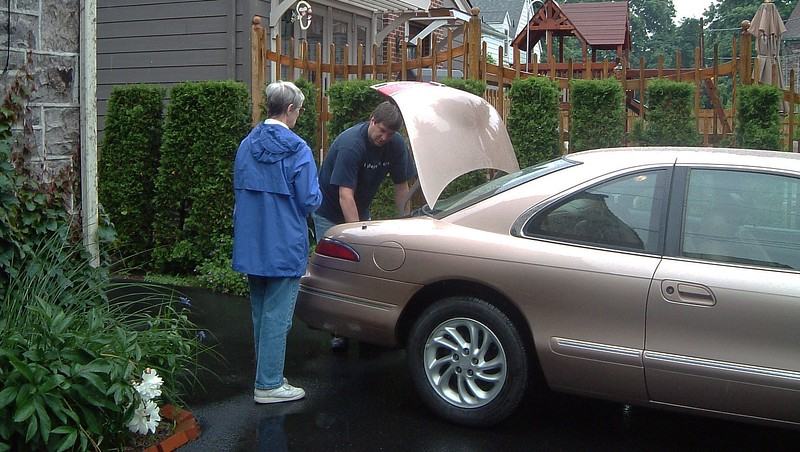 We stopped at my parents' house to show them the new car.