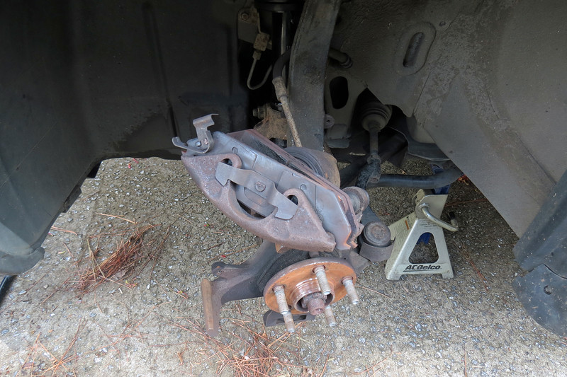 Removing the brake pads from the caliper is a simple procedure.
