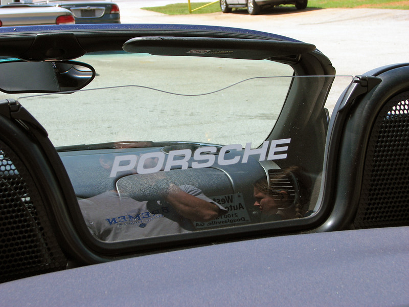 The Porsche wind deflector is a factory option.