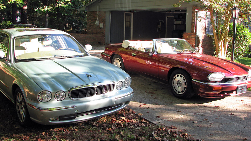 September 10, 2011:  The two Jags in the driveway.