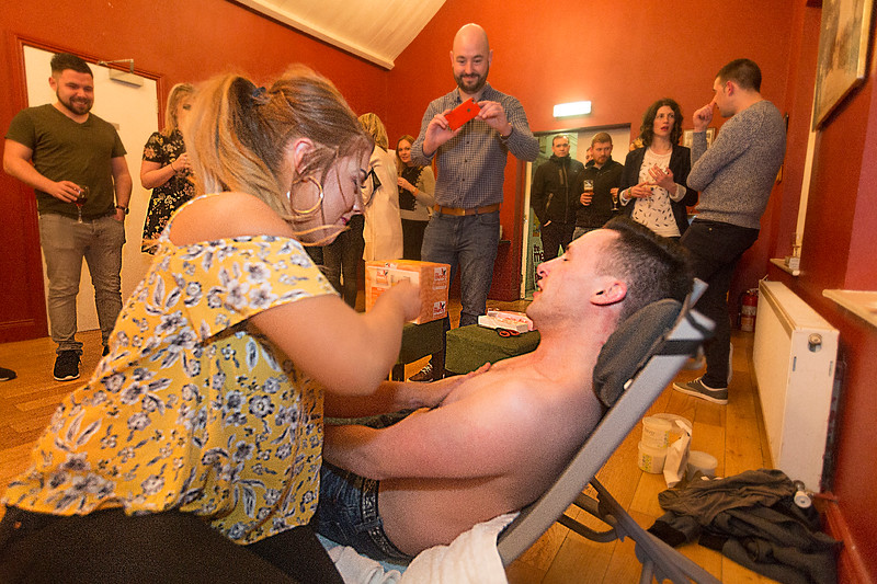 EEJob Maurice Gubbins SOCIAL 23/03/2018  Charity Fundraising Event for The Mercy Hospital Foundation by The River Lee Hotel and its staff.  Pictured Denis Murphy as he is waxed by Nicola Murphy at the Cork Cricket Club Cork City.  Picture: Andy Jay