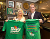EEJob Maurice Gubbins SOCIAL 23/03/2018  Charity Fundraising Event for The Mercy Hospital Foundation by The River Lee Hotel and its staff.  Pictured General Manager of The River Lee Hotel Ruairí O'Conner and Janice Casey proudly showing their fundraising T' Shirts at The Cork Cricket Club in Cork City last Friday evening.  Picture: Andy Jay
