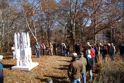 "Eric Lintalla discussing his work, ""Slocum's Trust,"" during the Artists Walk, November 2009"