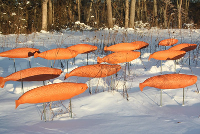 """Migration"" in the snow, January 2010.  Sculpture and photo by Nancy Train Smith."