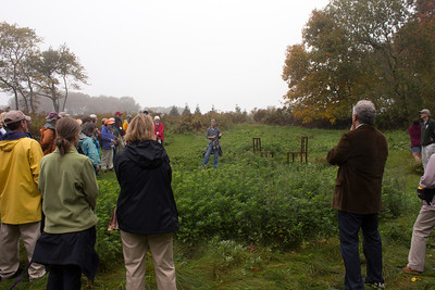 """On Artist Walk - Mimi Frank talking about her work, """"A Study in Proxemics"""" (photo by Meg Giddings) - October 2012"""