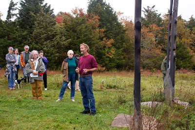 """On Artist Walk - Ron Rudnicki talking about his work, """"Silhouette"""" (photo by Meg Giddings) - October 2012"""