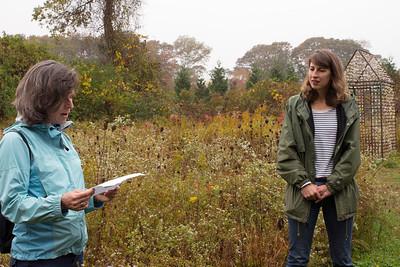 "On Artist Walk - Poet Mary Pinard and artist Danielle Krcmar in front of ""Fragment House"" (photo by Meg Giddings) - October 2012"