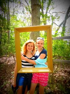 "Visitors enjoy Matthew Hincman's ""Golden Frames"""