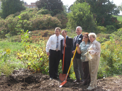 Tree planting during the September 23, 2009, ceremony. Holyoke Mayor Mike Sullivan; Daniel Ross, outgoing director of Nuestras Raíces; Andy Kendall, President, Trustees of the Reservations; Maria Salgado, Nuestras Raíces; and Sister Elizabeth of Sisters of Providence.