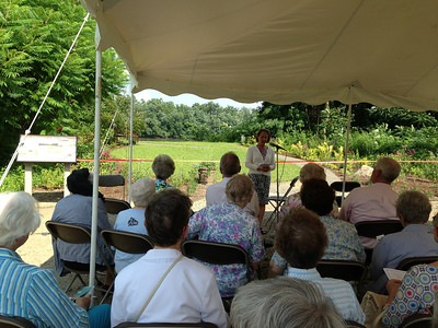 July 15, 2013.  Joanna Ballantine, The Trustees of Reservations, welcominig us to the dedication of this Contemplative Space overlooking the Connecticut River.