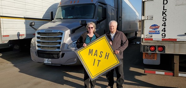 Billy and Betty caught up with us at the Love's truckstop in Sioux Falls, South Dakota on March 20, 2021. Check out that big Mash It sign they made! Woohoo!
