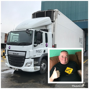 "My name is Rick (Rick H when I occasionally join chat). I am a happily retired UK trucker. I took early retirement in 2017 and discovered Big Rig Travels just less than a year later, by accident, on YouTube.  This picture shows the truck I drove in the twilight of my career. It is a DAF CF, 440hp. The trailer is a double-deck 40' reefer and is 16' 4"" high. It ran at up to 44 tonnes (around 97,000 lbs). My trucking career spanned 39 years and my career mileage was around 2 million miles - well, the UK is a pretty small island!!"