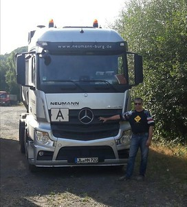 My buddy, Germany Jens standing by his truck. Jens trucks all across Germany and has followed BigRigTravels since it first started!