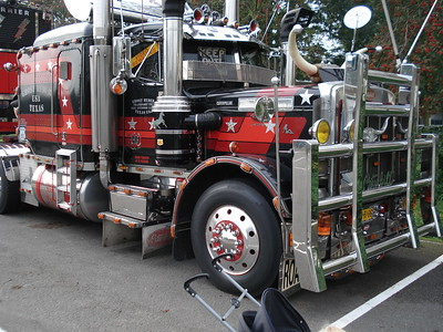 This 1987 Peterbilt has many decorations!  How about that grille guard???