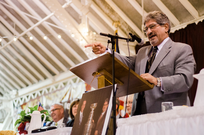Mayor DiNatale speaks during the Roast of Mayor Stephen DiNatale at the Fitchburg Senior Center on Saturday evening. Proceeds were to benefit the Rotoary Club of Fitchburg. SENTINEL & ENTERPRISE / Ashley Green