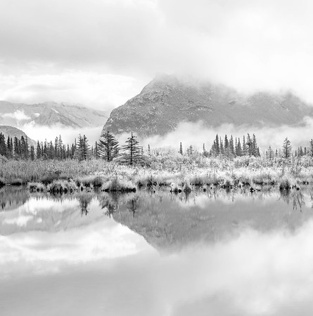 Low Clouds and Reflections Vermilion Lakes Banff