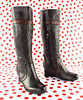 """Ruby Slipper 12 Days of Christmas, Earthies """"Newcastle"""" Tall Wedge Boot in Black with Brown Trim"""